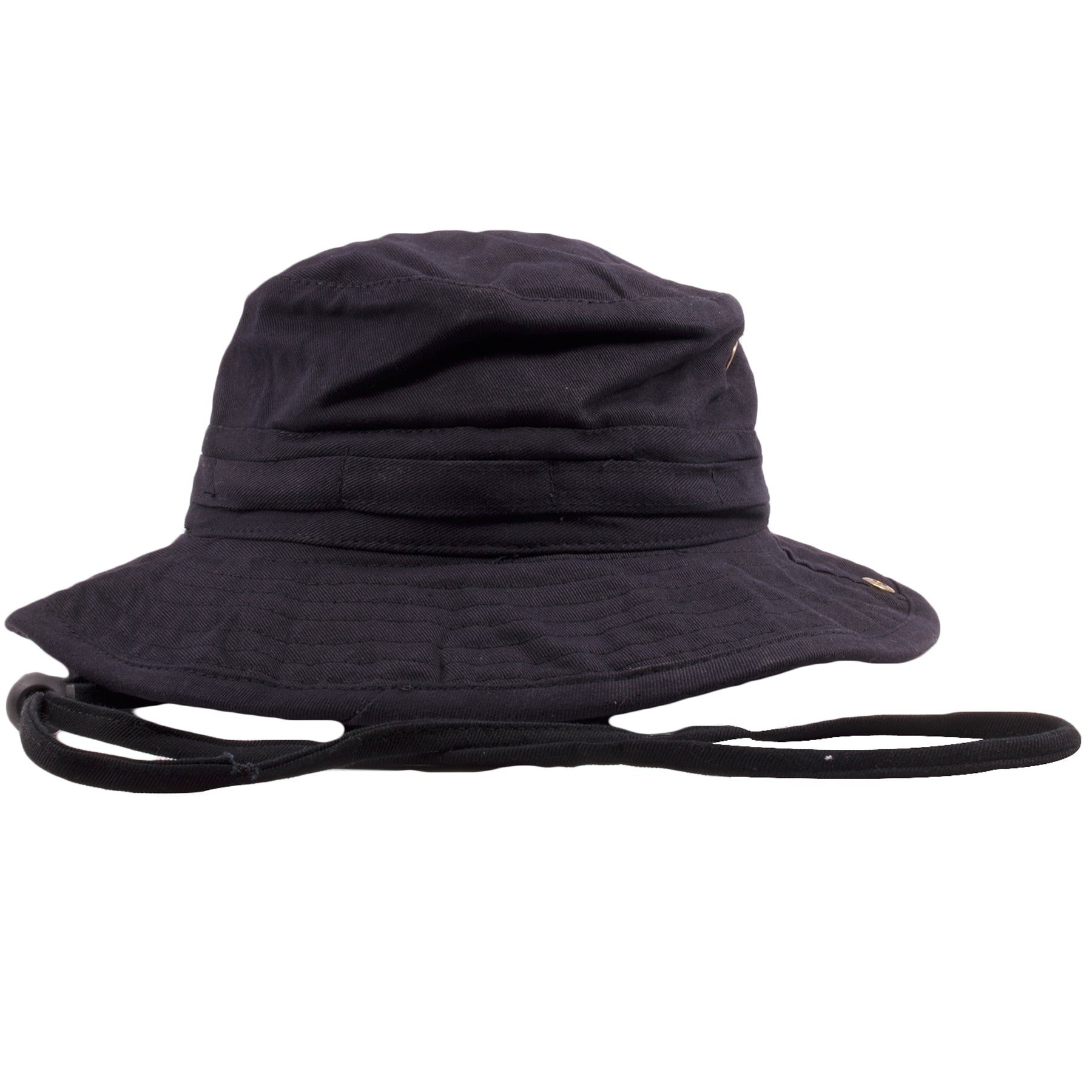 the black foot clan boonie bucket hat is solid black and features a black  drawstring 13a88e69bc7