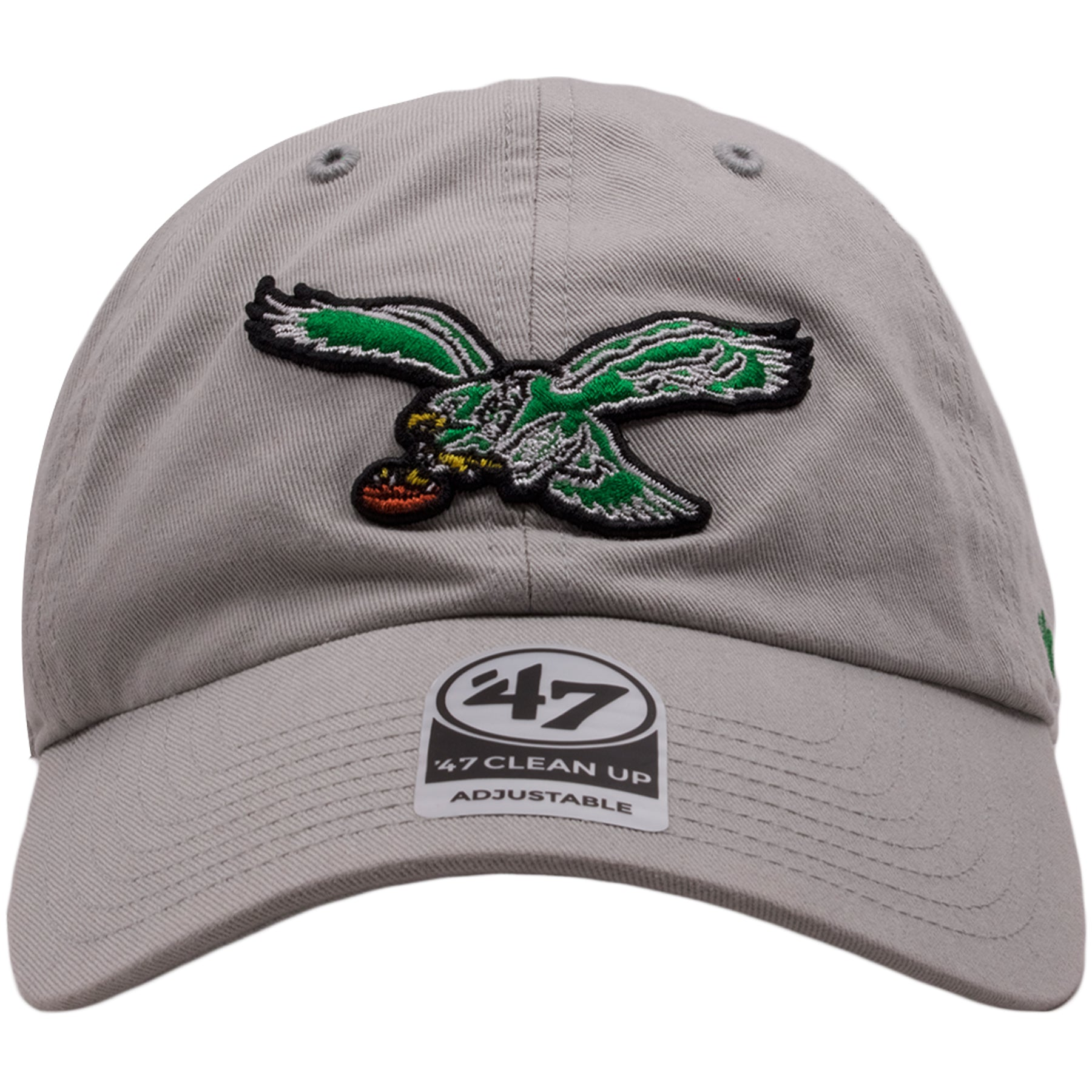 On the front of the Philadelphia Eagles gray dad hat is the throwback  Eagles logo embroidered 99f258460fe1