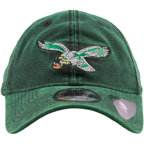 b18db1dc2 Embroidered on the front of the heather kelly green throwback Philadelphia  Eagles dad hat is the