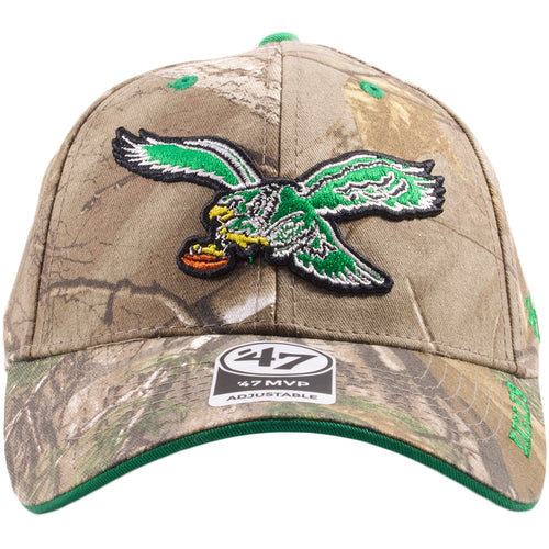 4b0a998f8 Embroidered on the front of the realtree camouflage retro throwback  philadelphia eagles dad hat