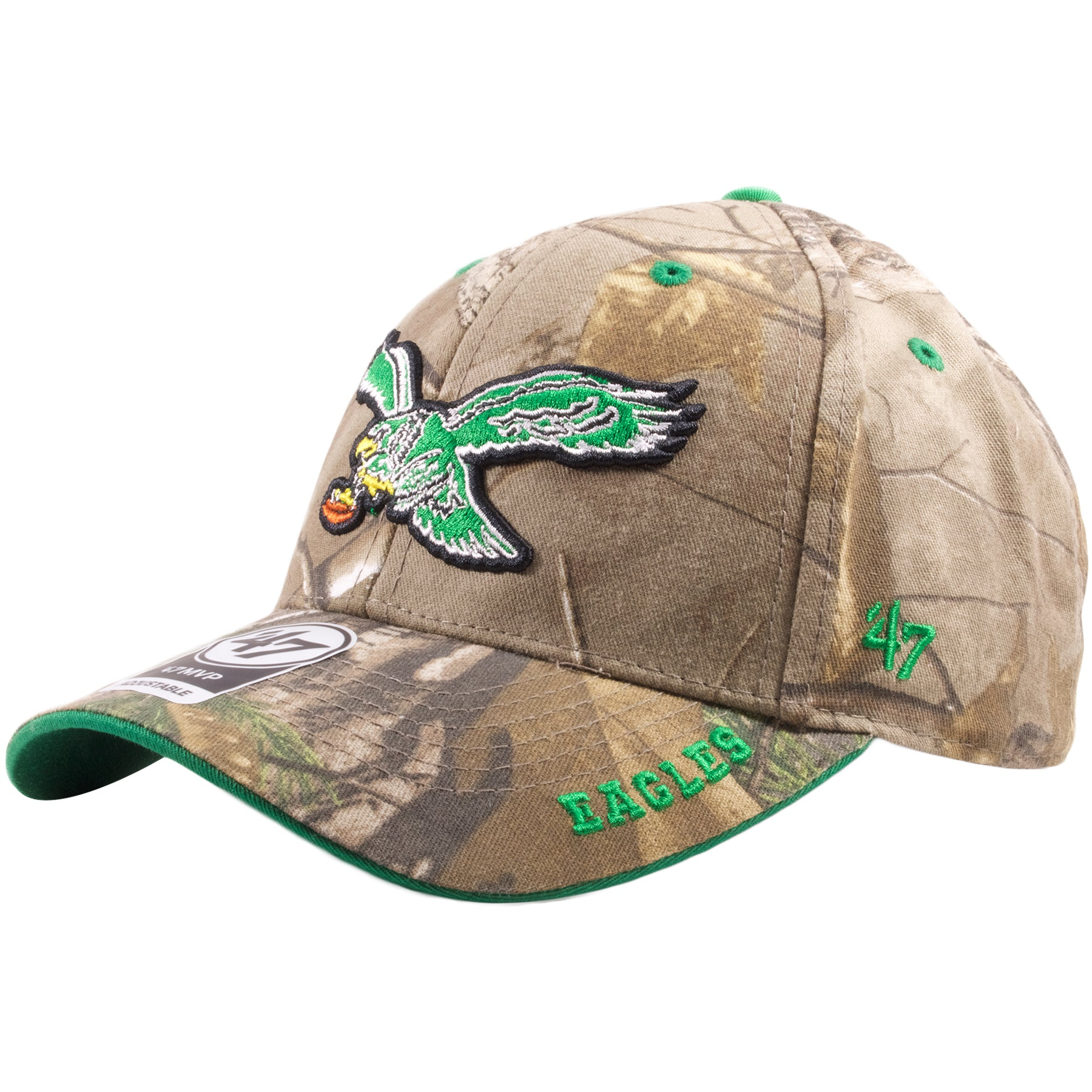 75f47bcb ... Embroidered on the brim of the realtree camouflage Philadelphia Eagles dad  hat is the word Eagles ...