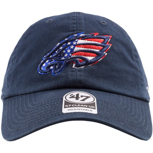 Embroidered on the front of the Philadelphia Eagles navy blue stars and stripes dad hat is the Philadelphia Eagles logo embroidered in navy blue on top of a USA flag pattern