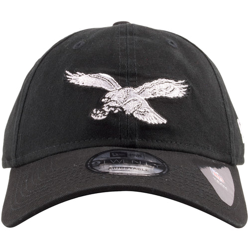 480917333 Embroidered on the front of the Philadelphia Eagles retro black dad hat is  the Philadelphia Eagles