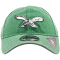 Embroidered on the front of the Philadelphia Eagles retro kelly green rugged dad hat is the throwback Philadelphia Eagles logo embroidered in white and black