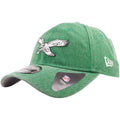 Embroidered on the left side of the vintage Philadelphia Eagles kelly green rugged dad hat is the New Era logo in white