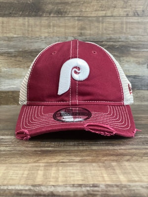 Front view Throwback Philadelphia Phillies Trucker dad hat | Distressed mesh back Retro Otc | Phillies 9Twenty 920 dad hat