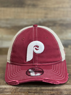 Throwback Philadelphia Phillies kids size  Trucker dad hat | Distressed mesh back Retro Otc | youth size 9Twenty 920 dad hat