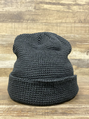 front of Black  Waffle Knit Beanie | fisherman's beanie for embroidery | Brand start up