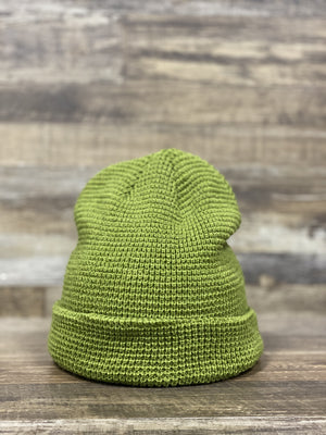 front of Light military Green  Waffle Knit Beanie | Fisherman's beanie for embroidery | Beanie for Brand start up