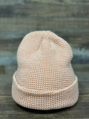 Dusty Rose  Waffle Knit Beanie | Rose fisherman's beanie for embroidery | Brand start up
