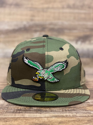 front of Camo Eagles fitted | Philadelphia Eagles throwback camouflage 5950 kelly green bird grey bottom