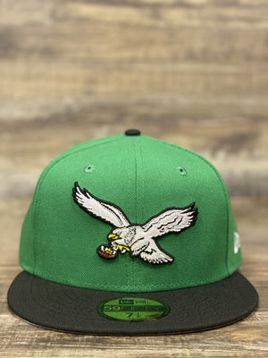 front of eagles throwback bird fitted | Philadelphia eagles retro eagle kelly green black grey bottom fitted