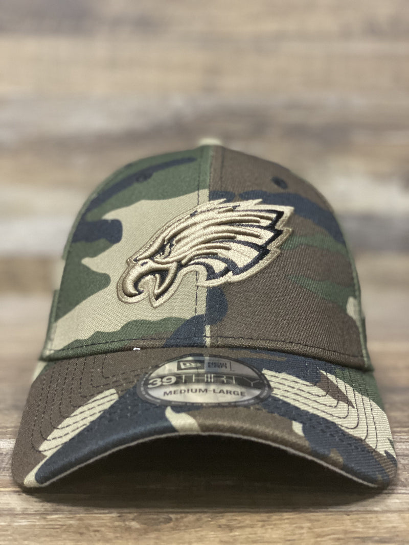 front of eagles camo flex fit hat  | Philadelphia eagles stretch fit camouflage flex hat 3930 new era cap