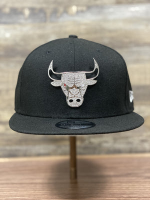 front of Bulls Bling Snapback  | Chicago Bulls stone bling metal  9fifty snapback | new era 9fifty