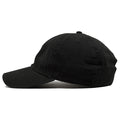the iverson step over dad hat has a soft black crown and a black bent brim