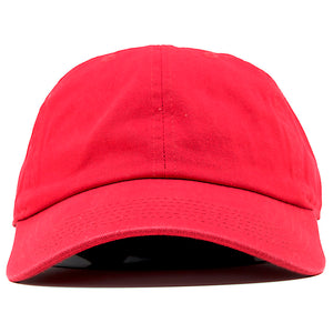 The blank red dad hat has no design on the front, a soft crown and a bent brim.