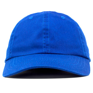 The blank blue dad hat has no design on the front, a soft crown and a bent brim.