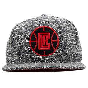 the los angeles clippers heather grey snapback hat is concrete grey with a red and black los angeles clippers logo embroidered on the front
