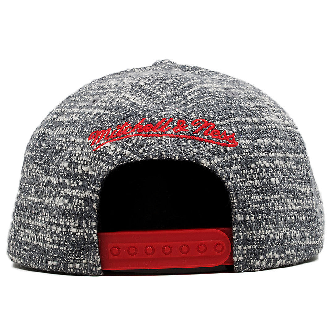 detailed look 9c23a 528a2 ... on the back of the toronto raptors marbled grey noise mitchell and ness  snapback hat the ...
