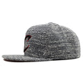 the cleveland cavaliers marbled grey noise concrete snapback hat has a high structured crown and a flat brim