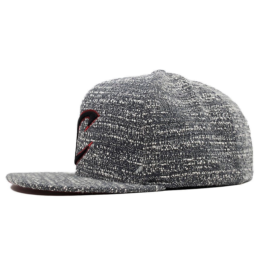 1459fc570a5 ... black and  the cleveland cavaliers marbled grey noise concrete snapback  hat has a high structured crown and a ...