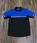 on the front of the Police Public Safety | Bike Patrol Reflective Stripe Shirt | Royal Blue and Black Security Guard 2-Tone Stripe Short Sleeve Polo Shirt is reflective stripes on the sleeves and chest