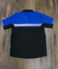 on the back of the Police Public Safety | Bike Patrol Reflective Stripe Shirt | Royal Blue and Black Security Guard 2-Tone Stripe Short Sleeve Polo Shirt is a big reflective stripe for night safety