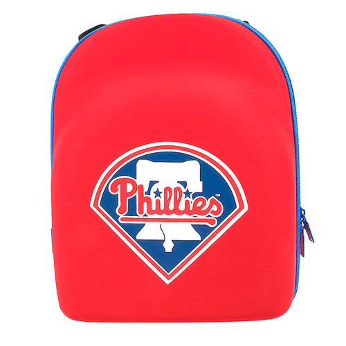 philadelphia phillies new era 6 piece cap carrier has a phillies logo on the front and is red