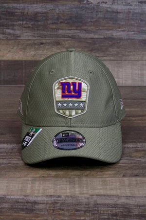 New York Giants 2019 Salute to Service Dad Hat | Olive Green NFL On Field NY Giants Baseball Cap has a rubber patch on the front