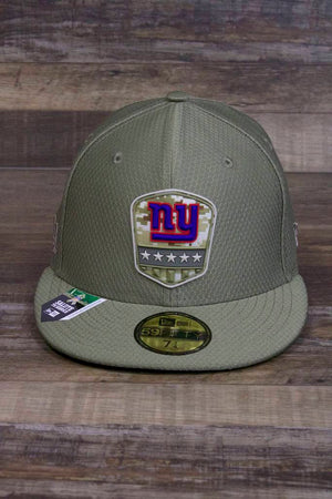 the New York Giants 2019 Salute to Service Fitted Cap | Limited Edition Olive Green On Field 59Fifty Fitted Giants Hat has a NY Giants patch on the front