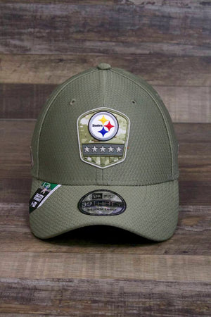 the Pittsburgh Steelers 2019 Salute To Service Stretch Fit Hat | Olive Green Military Inspired 39Thirty Steelers Flexfit Hat has a rubberized Steelers patch on the front