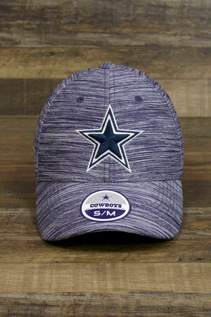 the Dallas Cowboys Heather Navy Sports Performance Poly Flexfit Cap has a big blue Dallas star on the front