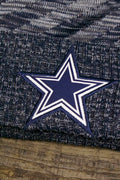 the Cowboys logo on the Dallas Cowboys 2018 On Field Sideline Beanie | Navy Blue Fleece Cowboys Beanie with Diagonal Stripes is made of satin finish embroidery