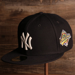 Yankees On-Field Grey Bottom Fitted Cap | New York Yankees 1996 Game Worn World Series Side Patch Gray Under Brim 59Fifty Fitted Hat the front of this yankees fitted cap has the yankees logo with the 1996 world series patch on the side