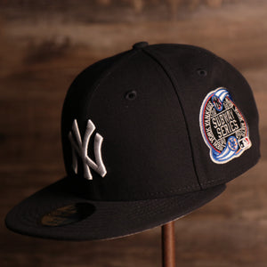 Yankees On-Field Grey Bottom Fitted Cap | New York Yankees 2000 Game Worn Subway Series Side Patch Gray Under Brim 59Fifty Fitted Hat the front of this fitted cap has the yankees logo with the subway series logo on the side