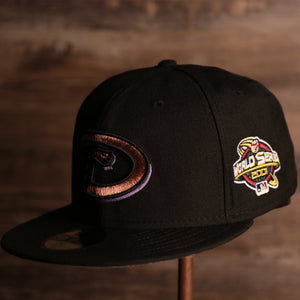 Diamondbacks On-Field Grey Bottom Fitted Cap | Arizona Diamondbacks 2001 Game Worn World Series Side Patch Gray Under Brim 59Fifty Fitted Hat thee front of this fitted cap has the diamondbacks retro logo with the 2001 world series patch on the side