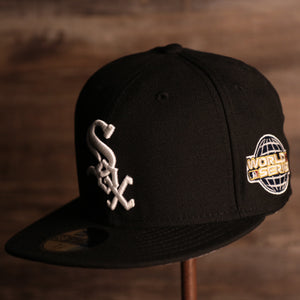 White Sox On-Field Grey Bottom Fitted Cap | Chicago White Sox 2005 Game Worn World Series Side Patch Gray Under Brim 59Fifty Fitted Hat the front of this white sox cap has the white sox logo with the 2005 world series patch on the side