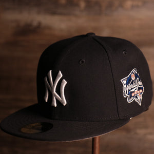 Yankees On-Field Grey Bottom Fitted Cap | New York Yankees 2000 Game Worn World Series Side Patch Gray Under Brim 59Fifty Fitted Hat the front of this cap has the yankees logo with the 2000 world series patch on the side