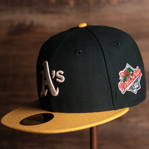 Athletics On-Field Grey Bottom Fitted Cap | Oakland Athletics 1989 Game Worn World Series Side Patch Gray Under Brim 59Fifty Fitted Hat  the front of this cap has the athletics classic logo and a side patch that is the 1989 world series logo