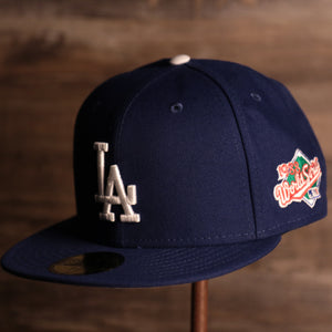Dodgers On-Field Grey Bottom Fitted Cap | Los Angeles Dodgers 1988 Game Worn World Series Side Patch Gray Under Brim 59Fifty Fitted Hat the front of this cap has the dodgers classic logo with the 1988 world series patch on the side