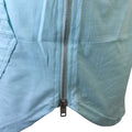Pastel Turquoise Short Sleeve Hoodie with Silver Zipper