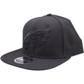 the black on black Philadelphia Eagles snapback hat has a high structured black crown and a flat black brim