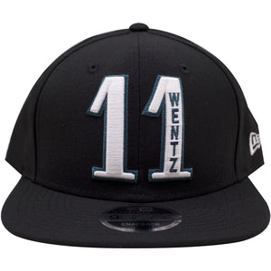 the front of the Carson Wentz #11 Philadelphia Eagles snapback hat is the number 11 and Wentz's name in white and Philadelphia Eagles green