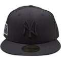 the New York Yankees Monument Park Fitted Cap is solid black with a black logo