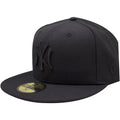 the new york yankees monument park fitted cap has a high black crown and a flat black brim