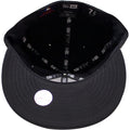 the new york yankees monument park fitted cap has a black interior and a black under brim