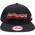 the lehigh valley iron pigs snapback hat is black with a brown iron pigs bacon logo embroidered on the front