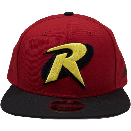 the Robin boy wonder DC Comics Batman Sidekick New Era snapback hat has a high red crown and a flat black brim