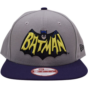 on the front of the throwback dc comics batman snapback hat is a retro batman word mark