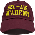 the bel air academy dad hat is solid maroon with yellow lettering embroidered on the front
